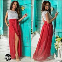 Легкое летнее платье из комбинированных материалов: верх-гипюр, низ-шифон с подкладом.