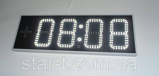 Часы термометр светодиодные уличные с отображением даты и месяца. Белый цвет, яркость 3000мКд
