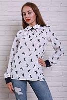 Шелковая блуза с бантиками и контрастными манжетами