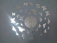 Зеркальные часы Бабочки серебро, фото 3
