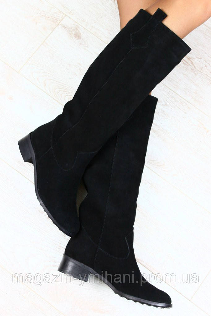 421bf5b9f Женские зимние сапоги -пика замшевые без каблука из натуральной замши -  Интернет-магазин