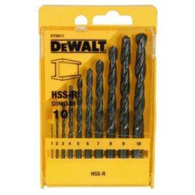 Набор сверл по металлу Dewalt HSS-R 10шт, d=1-10мм.