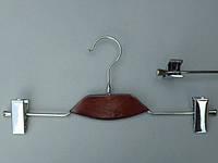 Плечики вешалки тремпеля металлический со вставкой из дерева цвета вишни, для брюк и юбок, длина 35 см