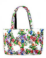 Молодёжная женская сумка стёганая цветочный принт