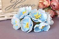 """Цветочки """"Марта"""" 3,5-4 см, 6 шт/уп. голубого цвета"""