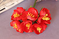 """Цветочки """"Марта"""" 3,5-4 см, 6 шт/уп. красного цвета"""