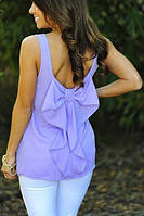 Женская шифоновая летняя блуза с бантом на спине