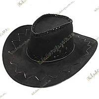Ковбойская шляпа (черная), под велюр р-р 54-59, фото 1