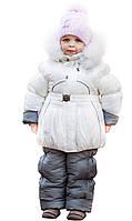 Детские зимние термо комбинезоны для девочек р.86-110 до -20 мороза на наши зимы белый снежинка
