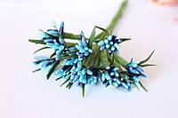 """Декоративные веточки """"сложные тычинки"""" пестрые с острыми листиками 10-12 шт/уп. сине-голубого цвета"""