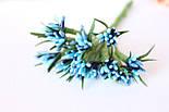 """Декоративные веточки """"сложные тычинки"""" пестрые с острыми листиками 10-12 шт/уп. сине-голубого цвета, фото 4"""