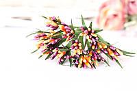 """Декоративные веточки """"сложные тычинки"""" пестрые с острыми листиками 10-12 шт/уп. цвета оранжевый + бургунди"""