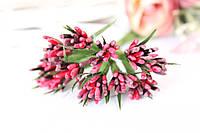 """Декоративные веточки """"сложные тычинки"""" пестрые с острыми листиками 10-12 шт/уп. цвета красный + марсала"""