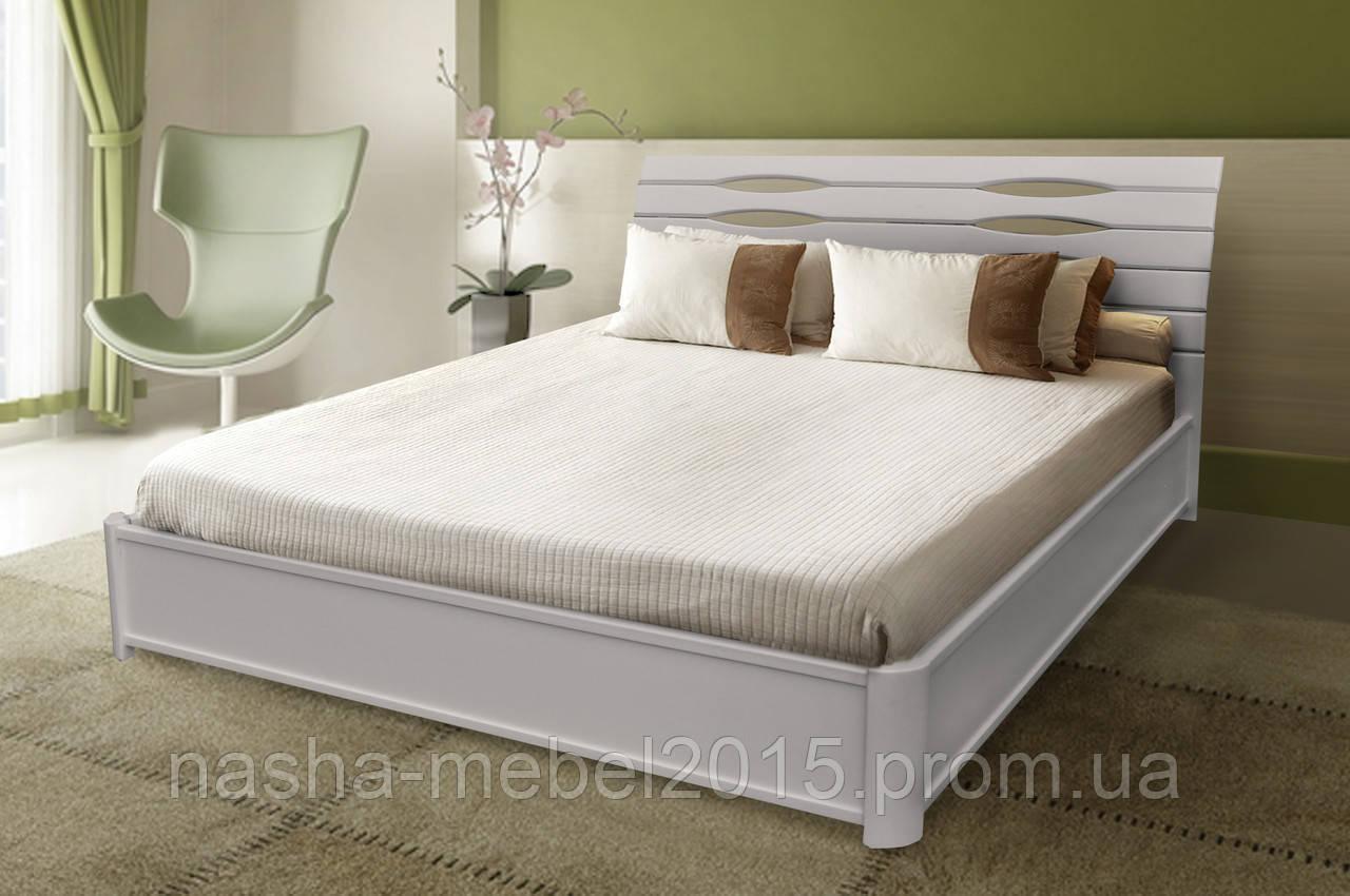 Деревянная Кровать Полуторная Мария белая с подъемной рамой 1,6м