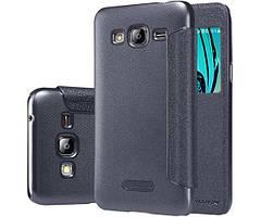 Кожаный чехол (книжка) Nillkin Sparkle Series для Samsung J320F Galaxy J3 (2016) Черный