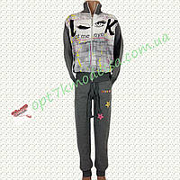 """Турецкий спорт костюм подросток """"Реснички"""" цвет тёмно-серый 8-12 лет"""