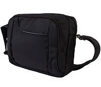 Горизонтальная сумка из ткани черного цвета 30812, фото 1