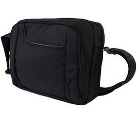 Горизонтальная сумка из ткани черного цвета Nobol 30812 Черная
