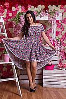 Платье hi-low с цветочным принтом и кружевом Батал! .03034 (НАТ)