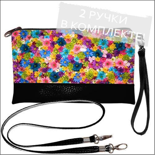 Женская сумочка-клатч  с цветным принтом