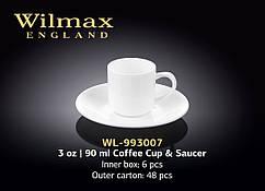 Чашка кофейная с блюдцем 90 мл (упаковка-6 шт.) Wilmax (Англия)