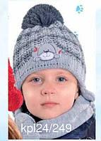 """Комплект зимний """"Собачка"""": шапка и шарфик для мальчика, фото 1"""