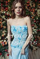 Голубой корсет с кружевом и юбка