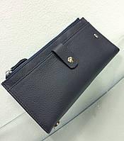 Кошелек-книжка кожанный на кнопках темно-синий