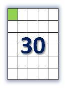 Этикеток на листе А4: 30 шт. Размер: 42х49,5 мм.