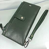 Кошелек-книжка кожанный на кнопках темно-зеленый