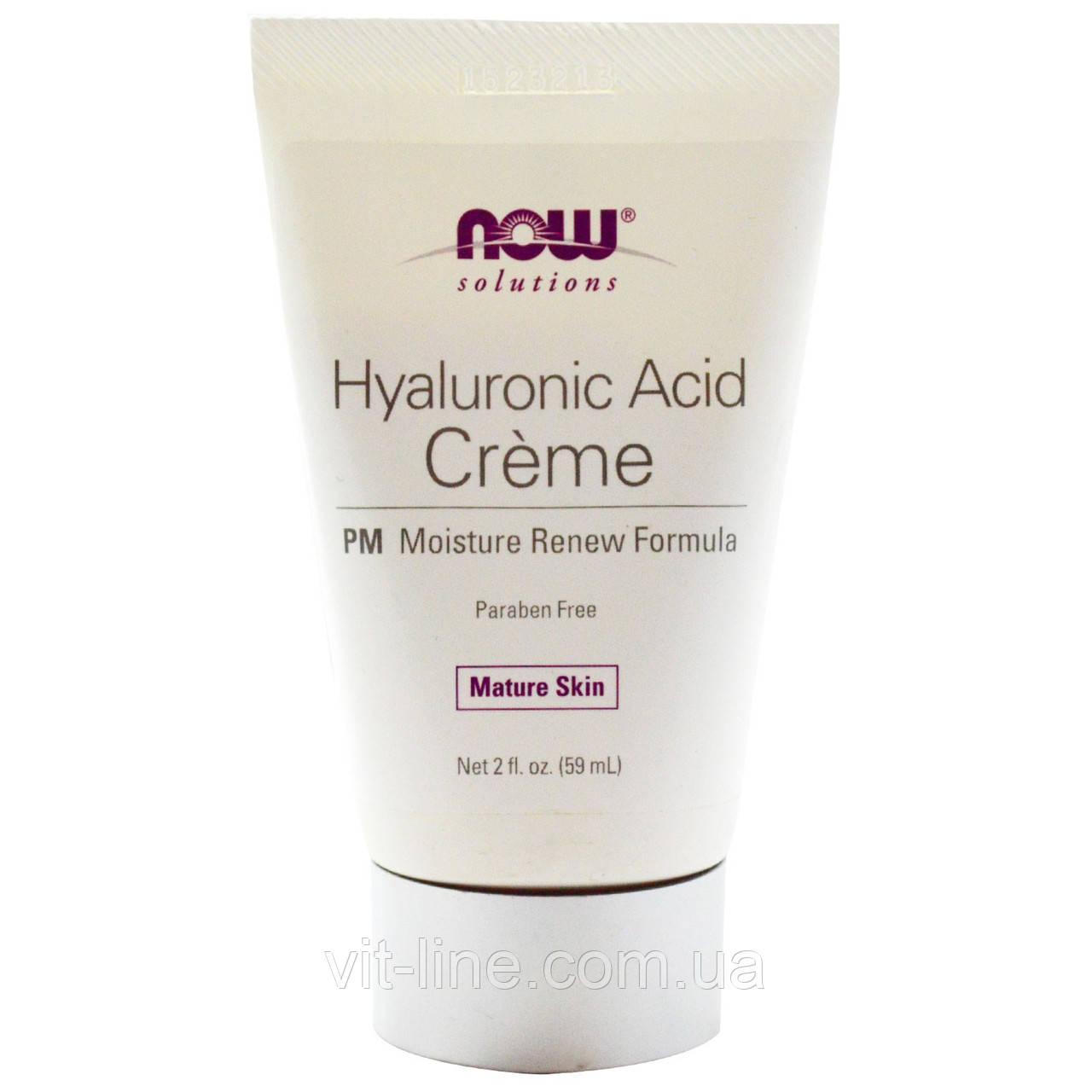 Now Foods, Крем с гиалуроновой кислотой, восстанавливающий влажность кожи, 2 жидких унции (59 мл)