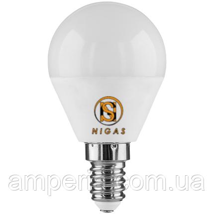 NIGAS Светодиодная лампа LED-NGS-51 G45 E14 3000K 5W, миньон форма шарик, фото 2