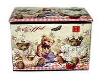 Стильный пуфик складной детский с мишками Прованс 48-31-31см