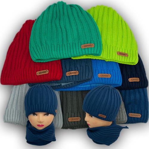 Комплект - шапка и шарф для мальчика, Grans (Польша), подкладка флис, A680F