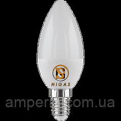 NIGAS Светодиодная лампа LED-NGS-52 С37 E14 4200K 6W, свеча