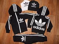 Детский Спортивный Костюм Adidas Черный Двойка с капюшоном   Рост 74-122 см