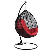 Кресло - кокон подвесное металическое черно красное, нагрузка 110 кг