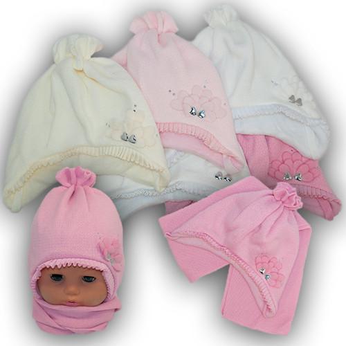 Детский комплект - шапка и шарф для девочки, Grans (Польша), подкладка флис, AM75F