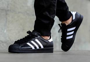 Кроссовки в стиле Adidas Superstar II Black/White, фото 3