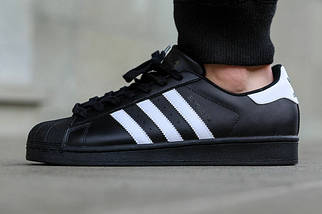 Кроссовки мужские Adidas Superstar Black/White , фото 2