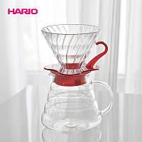 Набор Hario V60 фирменный заварник Харио 600 мл, стеклянный пуровер 02, мерная ложка, 40 фильтров 02