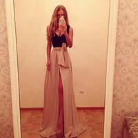 Женское платье в пол золотой песок мокко