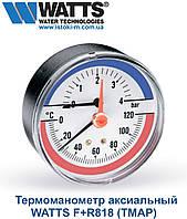 Термоманометр аксиальный WATTS F+R818 TMAP 80мм, 0-120°C, 0-40 м вод. ст., фото 1