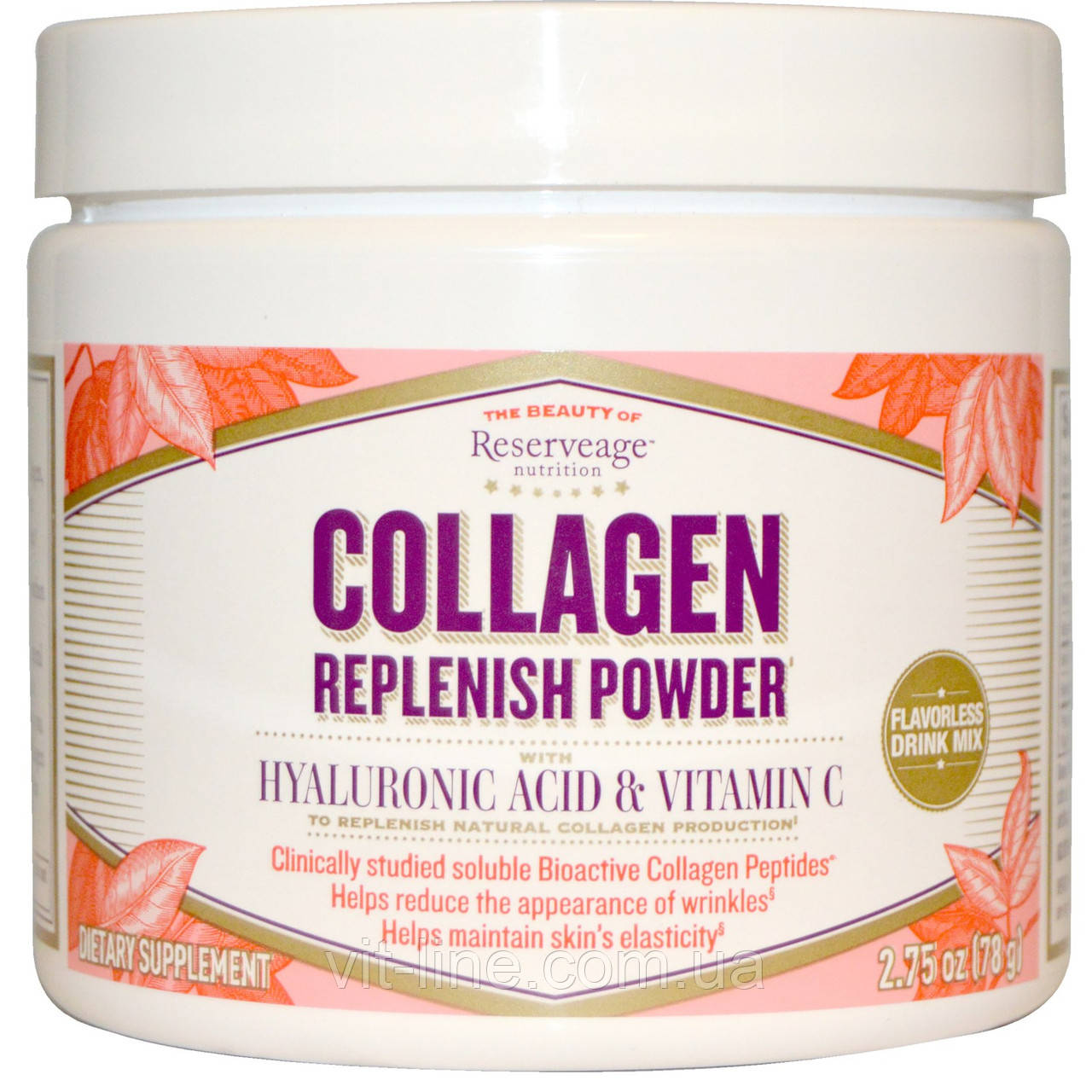 Collagen Replenish. Коллаген с гиалуроновой кислотой и витамином C от ReserveAge Nutrition (78 г)