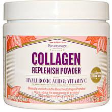 Collagen Replenish. Коллаген с гиалуроновой кислотой и витамином C от ReserveAge Nutrition (78 г)