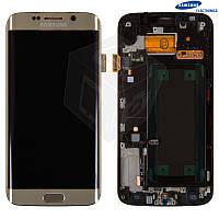 Дисплейный модуль (дисплей + сенсор для Samsung S6 EDGE G925F, с передней панелью, золотой, оригинал