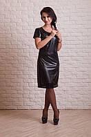 Эффектное женское платье из эко-кожи