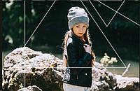 Стильная осенняя шапка девочке ТМ Дембохаус. Размер 56