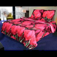 Качественное постельное белье ТЕП  RestLine 184 «Волшебный тюльпан» 3D дешево от производителя. малиновый, Полуторный