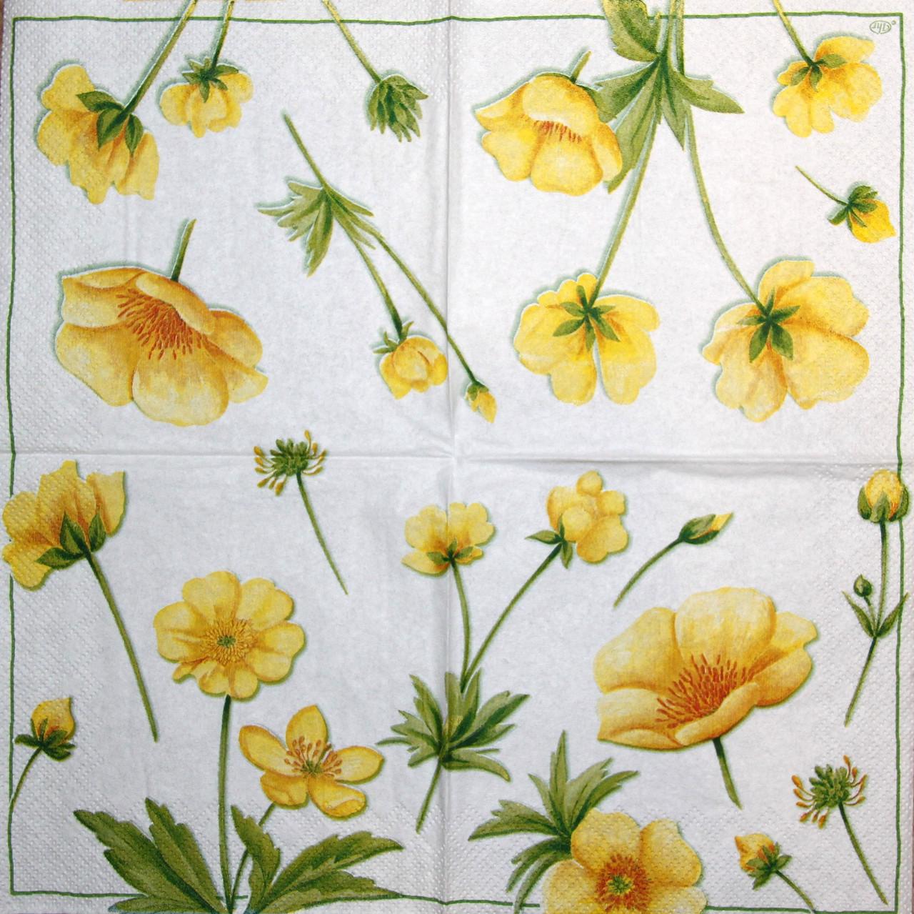 Салфетки декупажные Жёлтые цветы 1707